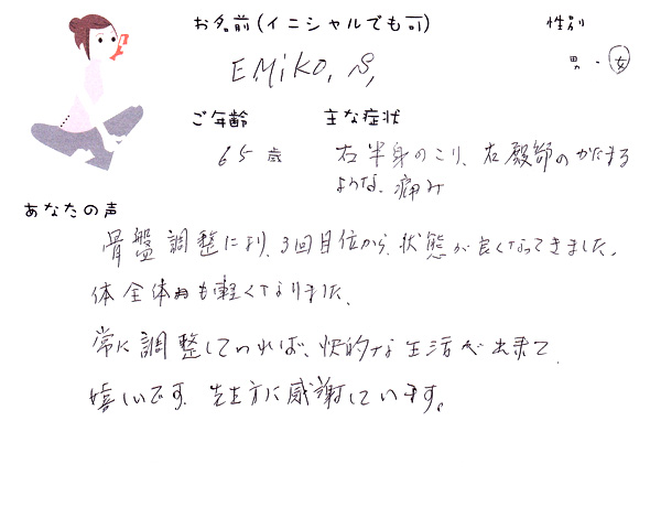 EMIKO.S.さん 65歳 女性