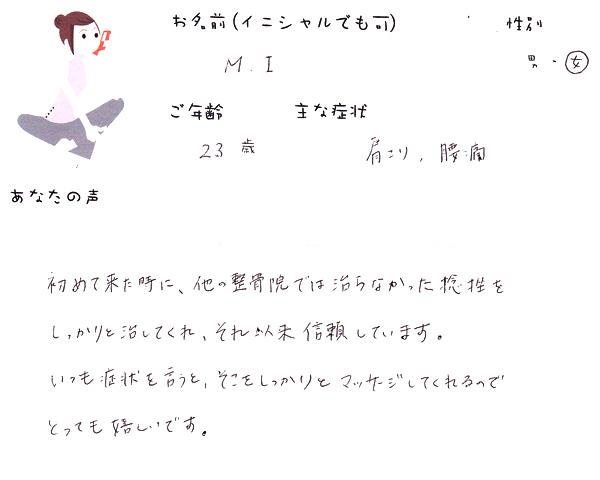 M.Iさん 23歳 女性