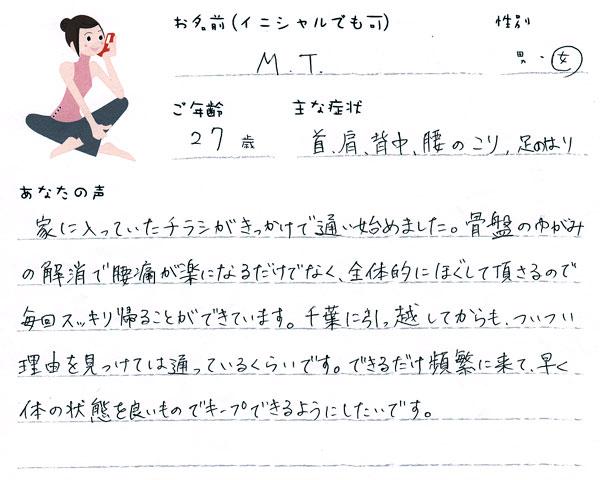 M.Tさん 27歳 女性